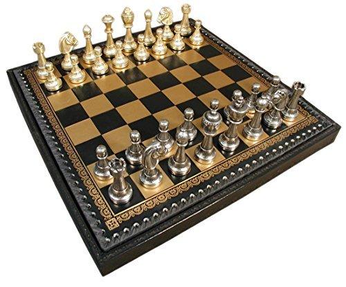 Staunton Metal on Leather Chest Chess Set by Italfama