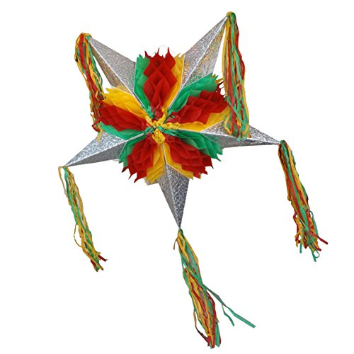 Foldable Mexican Star Pinata - 31.5 inches assembled - Red, Yellow and Green - Easy to (Aztec Sun Collection)