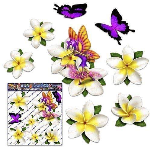 Fata fantasia frangipani plumeria fiore bianca + farfalla auto adesivi auto - ST00062WT_SML - JAS Stickers