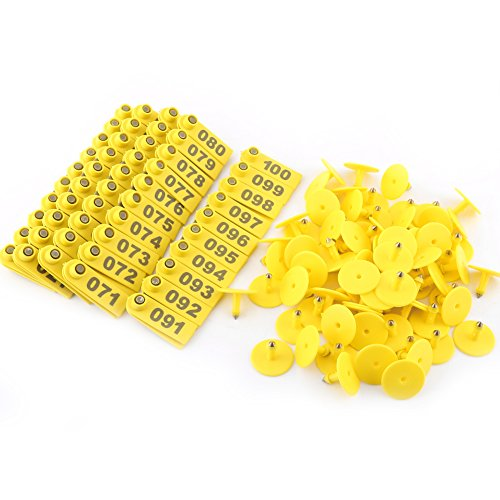 100Pcs Livestock Ear Number Tag Plastic Yellow Sheep Goat Hog Pig Cattle Beef Cow Farm Animal Accessories ()