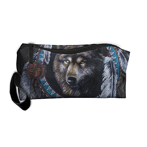 (Native American Wolf Portable Storage Pouch Travel Makeup Bag Oxford Cloth Kit Organizer For Sewing Medicine Comestic Fashion Pencil Pen Case)