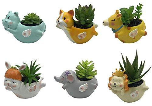 Desk Set Lions (6 PCS Set Cute Cartoon Animal Corgi Elephant Giraffe Hippo Bunny Lion Shaped Succulent Cactus Flower Pot/Plant Pots/Planter/Container for Home Garden Office Desktop Decoration (Plants Not Included))
