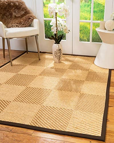 Natural Area Rugs 100 Natural Fiber Handmade Osaka, Beige Gold Sisal Rug, 12 x 15 Brown Border
