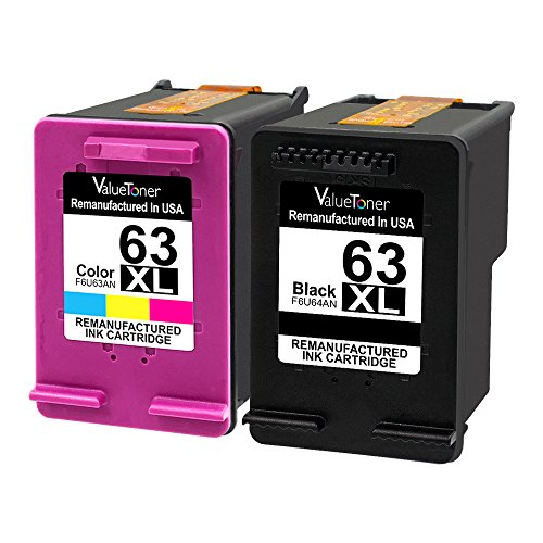 ValueToner-Remanufactured-Ink-Cartridge-for-HP-63XL-63-XL-High-Yield-1-Black1-Tri-Color-Compatible-with-HP-Envy-4520-4512-4516-Officejet-4650-3830-3833-4655-Deskjet-1112-2130-2131-3630-3633-3634