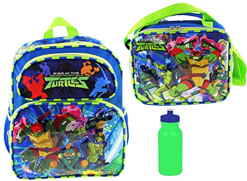 Teenage Mutant Ninja Turtles TMNT 12 inch Backpack & Matching Insulated Lunch Tote PLUS 20 oz Bottle