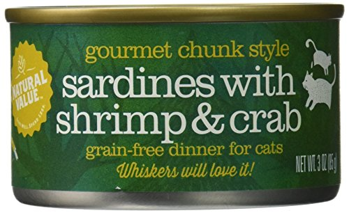 Natural Value Chunk Style Sardines with Shrimp & Crab Cat Food, 3 Ounce Cans (Pack of 24) - Chunks Crab