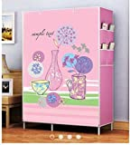Portable Strong & Sturdy Wardrobe Organizer, Storage Rack for Kids and Women, Clothes Cabinet, Bedroom Organizer colour & pattern as image