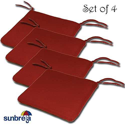 (SET OF 4 20W x 19Dx 2.5H Sunbrella Indoor/Outdoor Knife Edge style seat pad cushion in Jockey Red by Comfort Classics Inc. Made in USA )