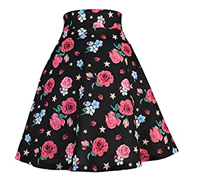 Modeway Elastic Waist Pleated Skater a line Midi Skirts for Women with Plus Size