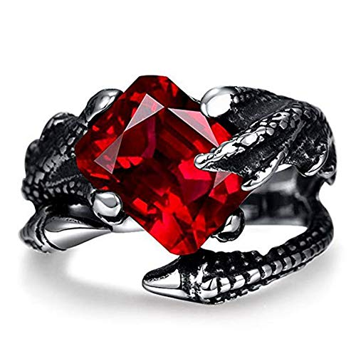 (SAINTHERO Mens Vintage Black Dragon Claw Gothic Rings 316L Stainless Steel Rock Punk Princess Cut Created Ruby Biker Bands Ring High Polished (10.0))