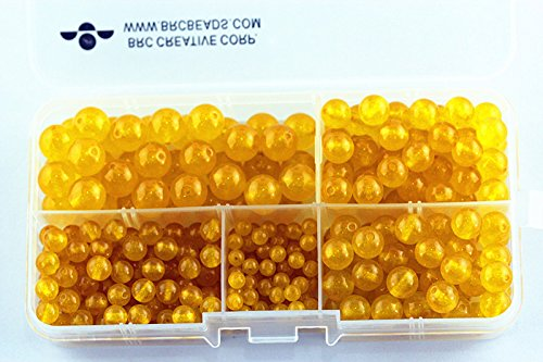 - BRCbeads Yellow Jade Natural Gemstone Loose Beads Round Value Box Set 340pcs Per Box for Jewelry Making (Plastic Container is Included)-4,6,8,10mm