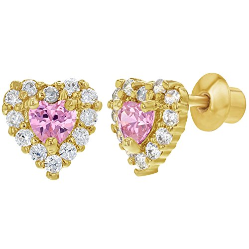18k Yellow Gold Plated Heart Clear & Pink Crystals Toddler Screw Back (18k Yellow Gold Heart Earrings)