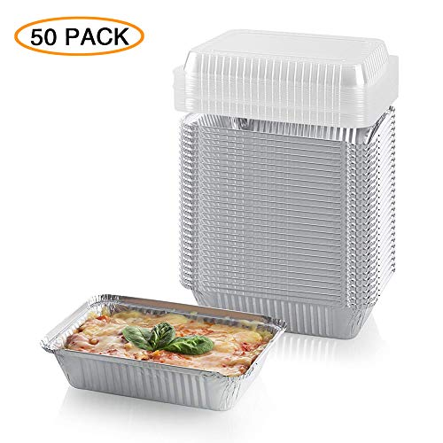 XIAFEI Disposable Durable Aluminum Rectangular Foil Pans, Take-Out Containers, Pack of 50 with PET Plastic Lids, (8.7 x 6.3 x 2)