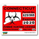 Connecticut CT Zombie Hunting License Permit Red - Biohazard Response Team - Window Bumper Locker Sticker
