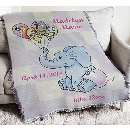 Personalized Baby Girl Elephant Tapestry Throw w/Fringe