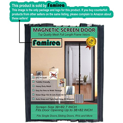 Magnetic Screen Door,Removable Screen Door with Full Frame Velcro and Heavy Duty Mesh Curtain (36''x82'') by Famirea (Image #1)