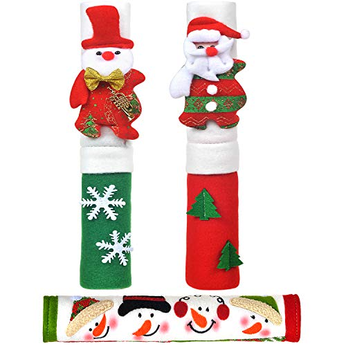 Vezfinel Kitchen Appliance Snowman Handle Covers, Christmas Home Decorations Set for Holiday Idea Gifts,Refrigerator Microwave Oven or Dishwasher Xmas Decor (3-Santa)