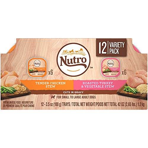 Nutro Wet Dog Food Cuts In Gravy Variety Pack, Tender Chicken Stew And Roasted Turkey & Vegetable Stew, (24) 3.5 Oz. Trays