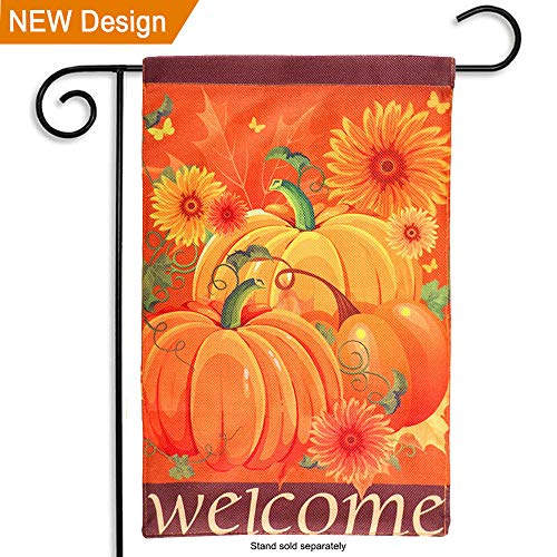 "AerWo Welcome Pumpkin Fall Garden Flag 12""×18"", Double-"