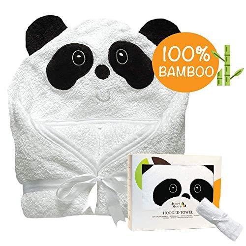Organic Hooded Baby Towel | 100% Bamboo, Hypoallergenic, Highly Absorbent, Antibacterial & Natural UV Protectant | Bonus Bamboo Washcloth | 500 GSM (35x35 inch) - Bear Panda Bath