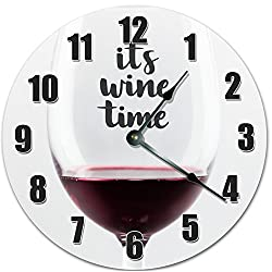 10.5 ITS WINE TIME IN A WINE GLASS CLOCK - Rec Room Clock - Large 10.5 Wall Clock - Home Decor Clock - 10016