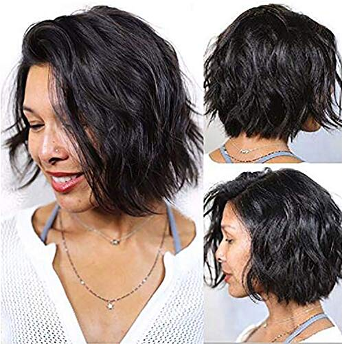 HEXUAN Hair Brazilian Virgin Human Hair Lace Front Wigs Glueless Short Bob Human Hair Wigs Natural Wavy With Baby Hair For Black Women Short Wavy Lace Wigs On Sale 12