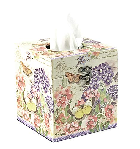 Bellaa 28311 Square Tissue Box Holder Butterfly Cover Wood 6inch