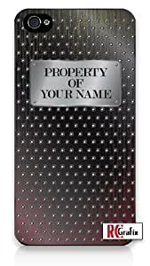 Custom DIY Personalized Men's Industrial Steel Plate Image w/Your Name Monogram For SamSung Galaxy S4 Mini Phone Case Cover Quality Hard Snap On For SamSung Galaxy S4 Mini Phone Case Cover - ATT Sprint Verizon - Black Frame