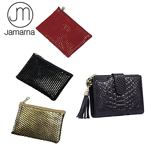 Jamarna JM Genuine Leather Alligator Short Women Wallet Tassels Female Purse Credit Card ID Holder Zipper Pocket Wallet (Black)