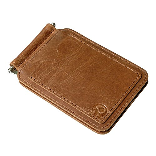 JUMENG Mens Spring Loaded Bifold Slim Card Holders Genuine Leather Money Clip Wallet