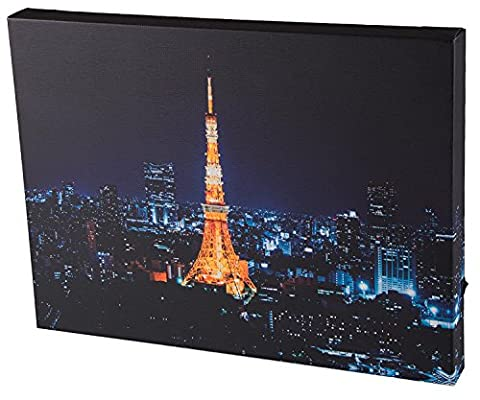Tokyo Tower Wall-Hanging Wood Framed Print Artwork with LED Lighting - 11.75