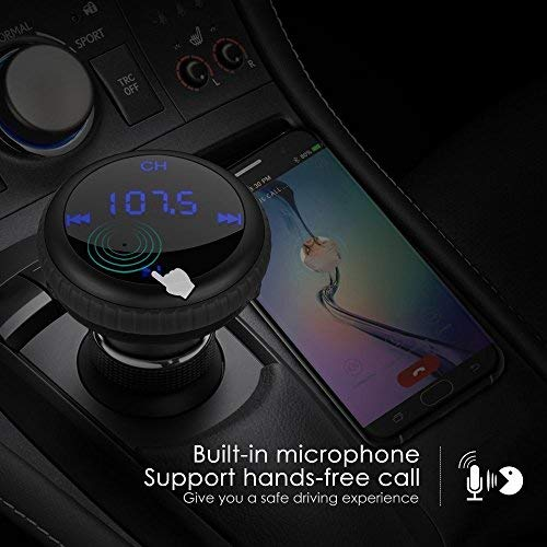 Roadwi Bluetooth FM Transmitter with LED Displayer, Wireless FM Transmitter Radio Adapter 5V/2.1A MP3 Player for Most Bluetooth Enable Devices