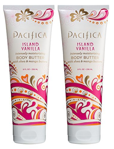 Pacifica Island Vanilla Body Butter (Pack of 2) with Shea Butter, Jojoba Seed Oil, Cocoa Butter, Flax Seed Oil, Kukui Nut Oil and Vitamin E, 100% Vegan and Cruelty-Free, 8 oz