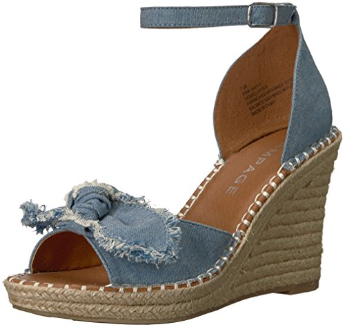 Rampage Women's Ram-Hayna Espadrille Wedge Sandal, Denim Canvas, 9 M US