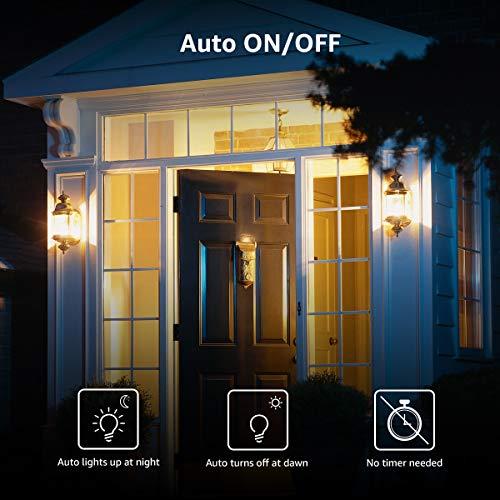 Lepro Dusk to Dawn LED Light Bulbs for Outdoor Lighting, Soft White 60 Watt Equivalent, Non-Dimmable, Automatic On/Off Light Sensor Bulb, 9W 806 Lumens, A19 E26 Medium Screw Base, Pack of 2