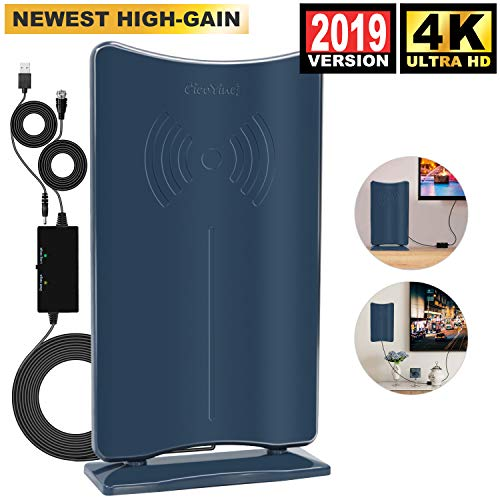 [2019 Latest HIGH GAIN] Amplified HD Digital TV Antenna - Long 80 Miles Range HDTV Antenna Indoor Amplifier Signal Booster, Support 4K 1080P & All Older TV's Free Channels w/Low Error Rate -Navy Blue ()