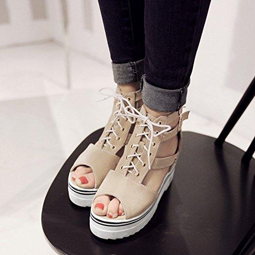 COOLCEPT Mujer Moda Cordones Sandalias Punta Abierta Correa de Tobillo Zapatos Beige