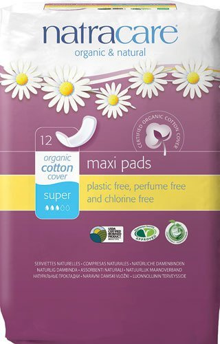 Natracare Super Maxi Pads - Organic and Natural - 12 Count - Pack of 3