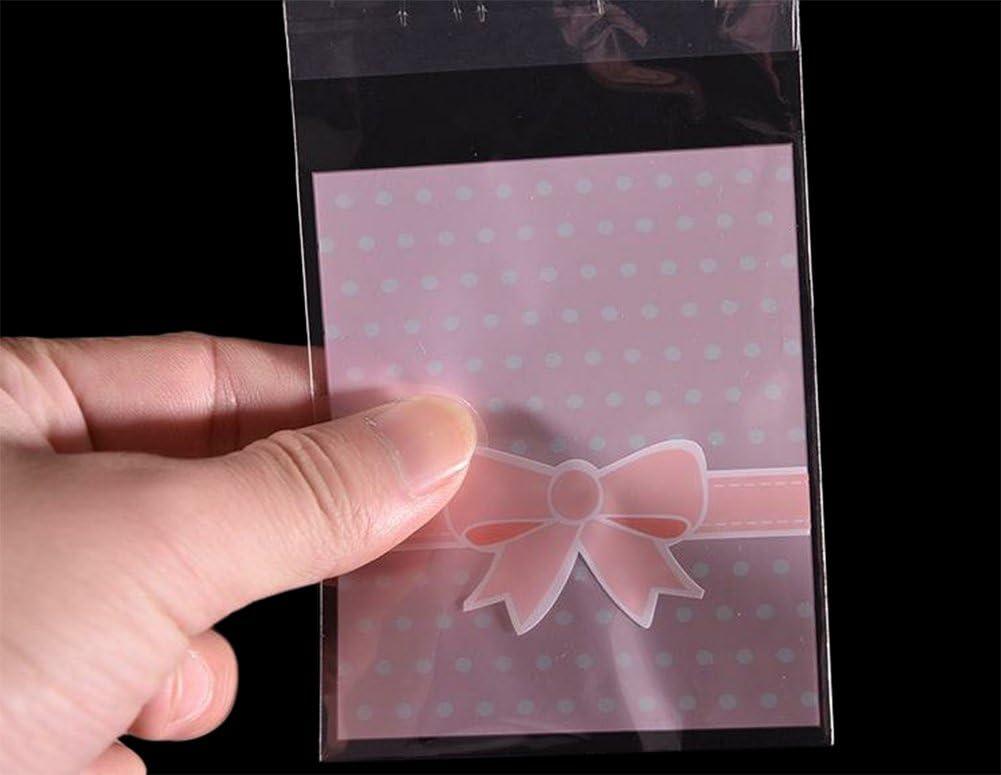 Demarkt 100 St/ücke Kreativ S/ü/ßigkeiten Taschen Weihnachten Cellophant/üte Geburtstagsfeier Cellophanbeutel Selbstklebende Taschen Folienbeutel Geburtstagsfeier Selbstklebend Rosa 8 13CM