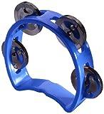 Plastic cutaway mini tambourine w/ 4 jingles - Blue