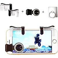 Mobile Game Controller Trigger Shoot and Aim L1R1, Mobile Joystick, Phone Ring Holder, for Mobile Shooting Games Including Fortnite/PUBG, Fits iPhone/Android and Most Phones (Transparent)