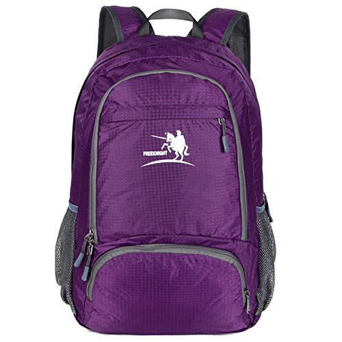 Free Knight Packable Handy Lightweight Travel Hiking Backpack Waterproof Foldable Daypack For Men Women 25L (Purple)