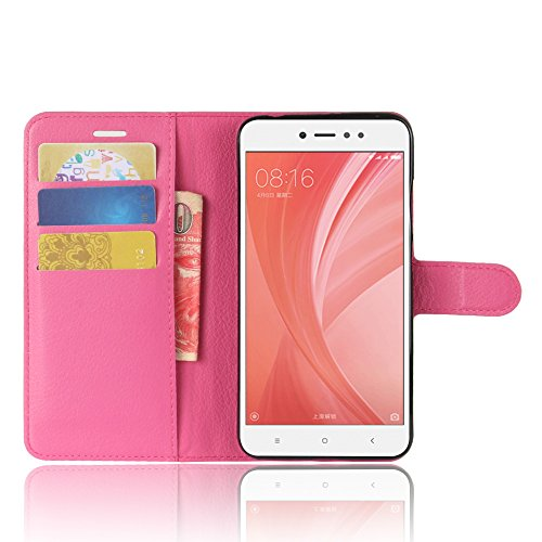 Xiaomi Redmi Note 5A Funda Faux Cuero Billetera Funda para Xiaomi Redmi Note 5A con Stand Función(Negro) Rosa roja