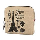 DZT1968(TM)Women Canvas Retro Small Mini Square Eiffel Wallet Coin Purses Clutch Money Pouch Bags Gift (Khaki)