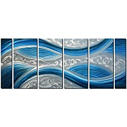 """Handmade Abstract Metal Wall Art with Soft Color, Large Scale Decor in Blue Line Design Metal Art, 3D Artwork for Indoor Outdoor Wall Decorations, Decorative Hanging in 6-Panels Measures 24""""x 65"""""""