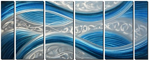 (Handmade Abstract Metal Wall Art with Soft Color, Large Scale Decor in Blue Line Design Metal Art, 3D Artwork for Indoor Outdoor Wall Decorations, Decorative Hanging in 6-Panels Measures 24