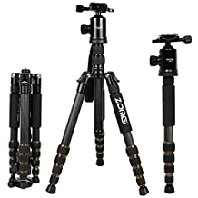 ZOMEI Z699C Carbon Fiber Portable Tripod with Ball Head Compact Travel for Canon Sony Nikon Samsung Panasonic Olympus Kodak Fuji Cameras and Video Camera