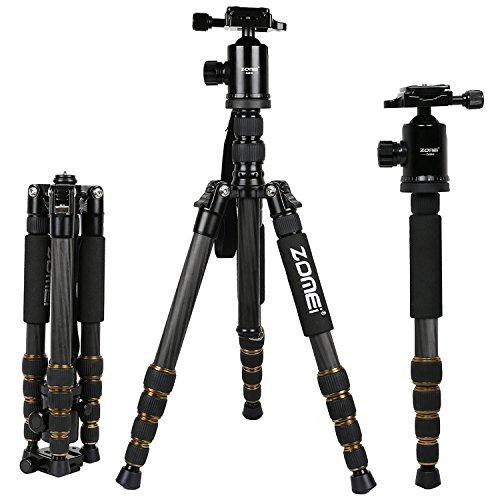 ZOMEI Z699C Carbon Fiber Portable Tripod with Ball Head Compact Travel for Canon,Sony, Nikon, Samsung, Panasonic, Olympus, Kodak, Fuji, Cameras and Video Camera