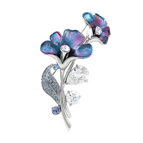 Glamorousky Purplish Blue Flower Brooch with Blue, Purple Austrian Element Crystals and Silver CZ (4949) (Crystal Purple Blue)
