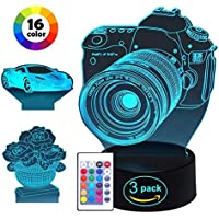 Mucjun 3D Night Light,16 Colors Changing Touch Control...